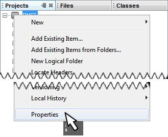 Open the Project Properties Window - Developer Help