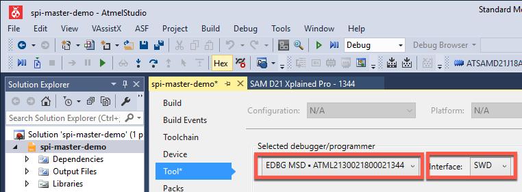 SAM D21 SERCOM SPI Master Example Project - Developer Help