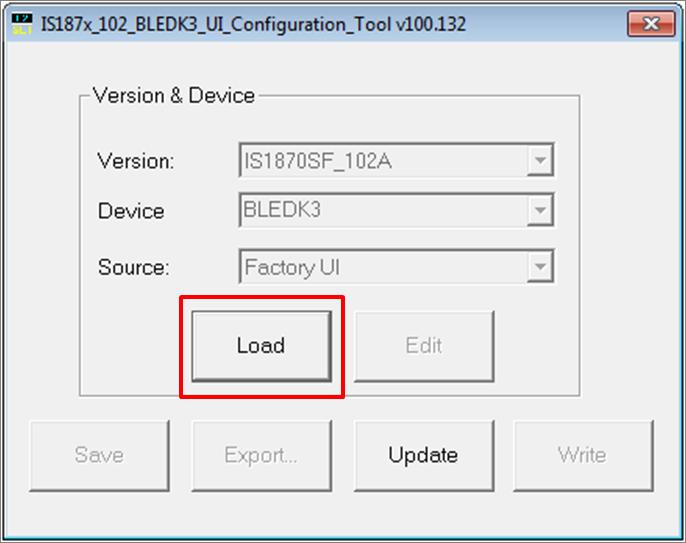 BM71 Static Configuration (UI Configuration Tool