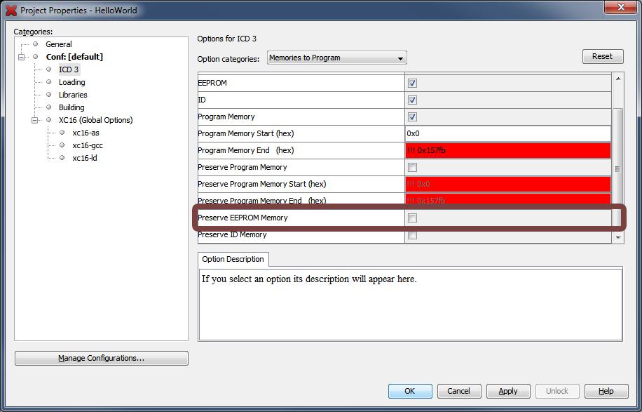 Preserve EEPROM Data Memory - Developer Help