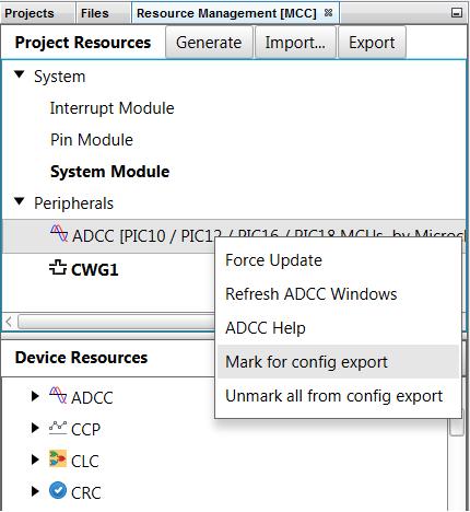 Saving/Importing Individual Peripheral MCC Configurations