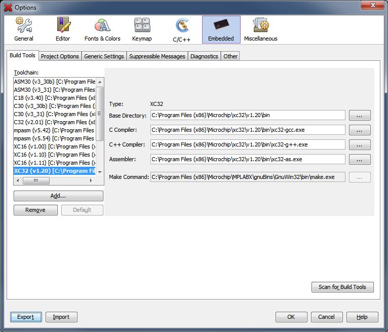 Options Window: Embedded (Build Tools Tab) - Developer Help