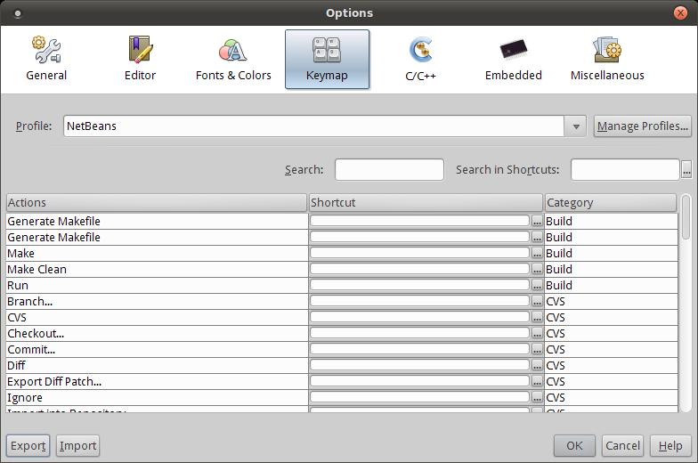 Options Window: Keymap - Developer Help