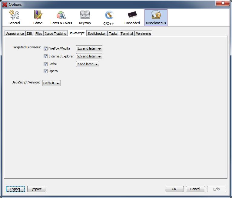 Options window miscellaneous javascript tab developer for Window javascript
