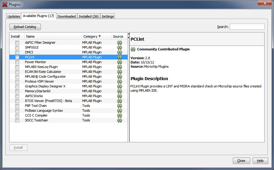 Plugins Window: Available Plugins Tab - Developer Help