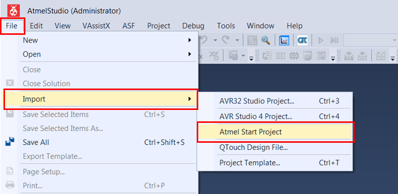 Import Touch Project into Atmel Studio - Developer Help