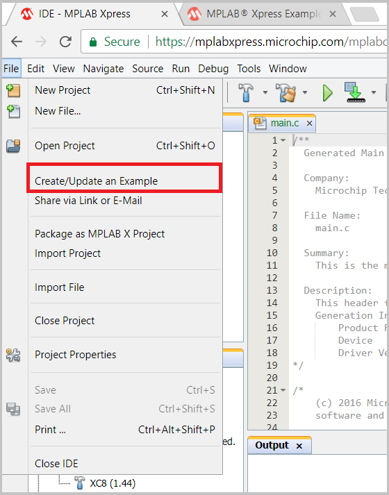 How To Import/Write MPLAB® X Examples in MPLAB - Developer Help